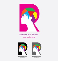 Rainbow Hair Saloon logo vector image