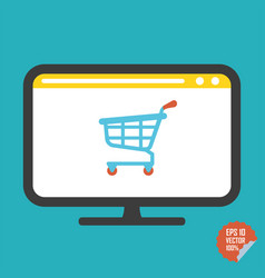 shopping cart on screen flat icon vector image vector image
