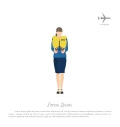Stewardess passenger trains to use a lifejacket vector image vector image