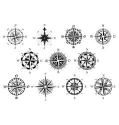 Antique compasses symbols set vector image vector image