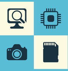 Computer icons set collection of chip memory vector
