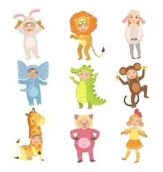 Kids In Animal Costumes Set vector image vector image