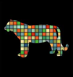 tiger wildcat bird color silhouette animal vector image