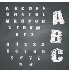 Alphabet and Symbols on Chalkboard vector image