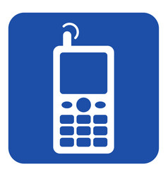 Blue white information sign - old mobile phone vector