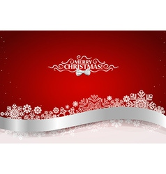 Christmas background with shiny ribbon on red vector image vector image