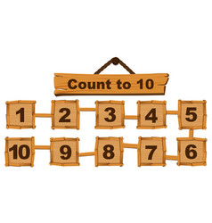 counting number one to ten on wooden boards vector image vector image