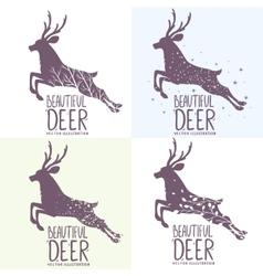 deer set vector image
