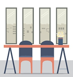 Flat Design Empty Chairs And Table vector image