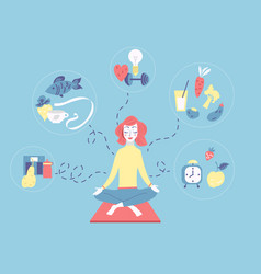 girl sitting in the lotus position and meditating vector image