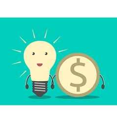 Lightbulb and dollar coin vector image vector image