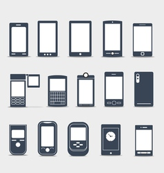 Modern mobile gadgets silhouettes vector image