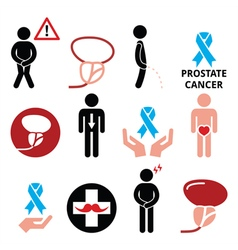 Prostate cancer awareness mens health icons set vector image vector image