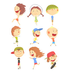 small kids playing and running having fun on vector image vector image