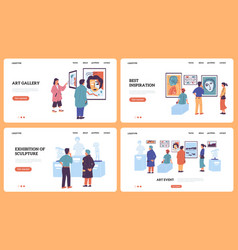 Art gallery landing page museum and exhibition vector