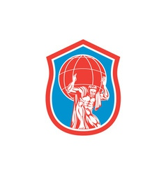 Atlas Carrying Globe on Shoulder Front Shield vector image