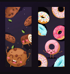 bakery banner with funny cookie mascot cartoon vector image
