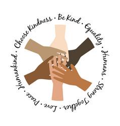 Be kind unity hands symbol black lives matter vector