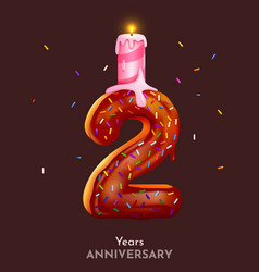 Birthday cake font number 2 with candle two year vector