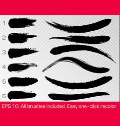 black grunge brush strokes set isolated on white vector image