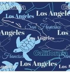 Blue Travel California Cities Animals vector
