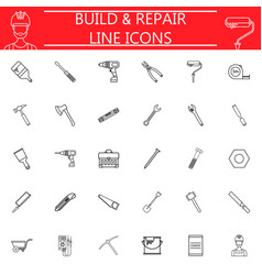 Build and repair line icon set vector