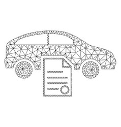 Car sale contract polygonal frame mesh vector
