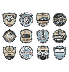 Car service repair mechanic garage badges vector