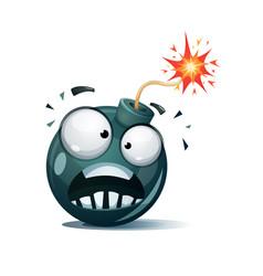 cartoon bomb fuse wick spark icon afraid vector image