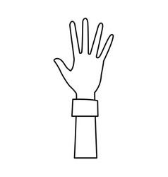 Cartoon one hand palm shows five fingers vector