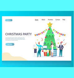 christmas party website landing page design vector image