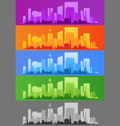 city skyline colored sets city districts banners vector image