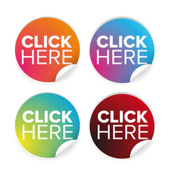 click here label button vector image