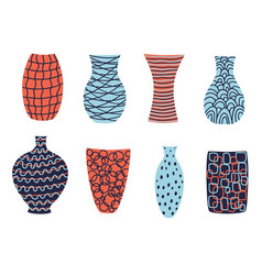 Collection lovely modern colorful vases for vector