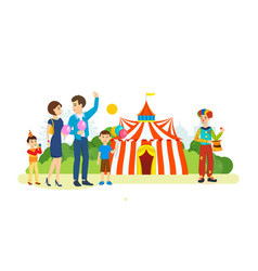 Couple walks past the playground and circus vector