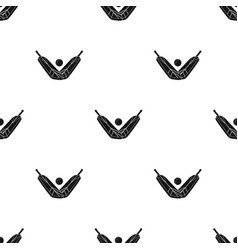 crossed cricket bats with ball icon in black style vector image