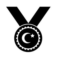 Cumhuriyet bayrami moon and star symbol in medal vector