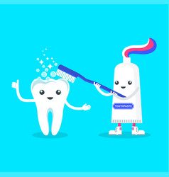 cute smiling toothpaste cleaning tooth vector image