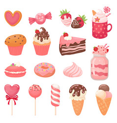 cute valentines sweets heart lollipop sweet ice vector image
