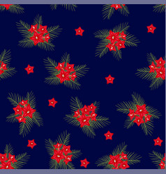 cypress vine flower on christmas blue background vector image