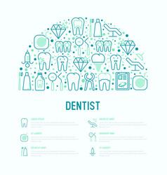 dentist concept in half circle vector image
