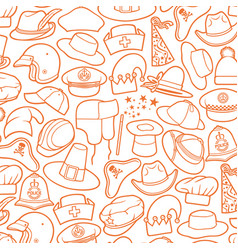 different types of caps thin line icons vector image