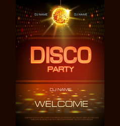 disco ball background neon sign disco party vector image