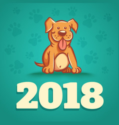 dog is 2018 new years symbol vector image