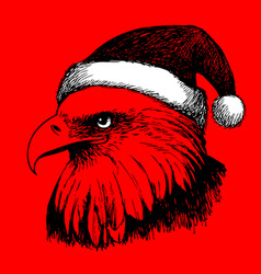eagle bird with christmas hat doodle hand vector image