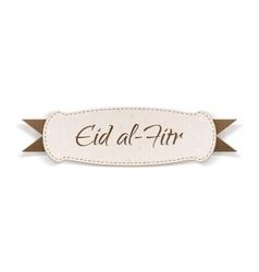Eid al-fitr realistic textile tag vector