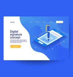 Electronic digital signature concept vector