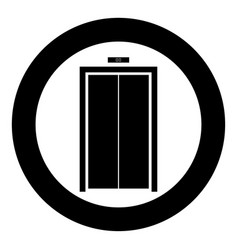 Elevator doors icon black color in circle vector