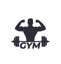 Fitness gym logo with strong athlete and barbell vector