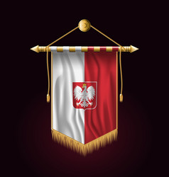 Flag of poland with eaglefestive vertical banner vector